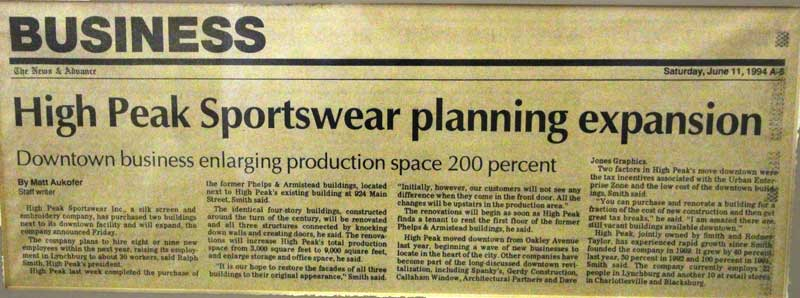 Newspaper clipping titled High Peak Sportswear planning expansion