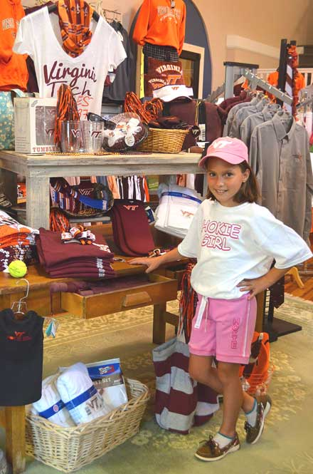 Young girl modeling Virginia Tech youth shirt