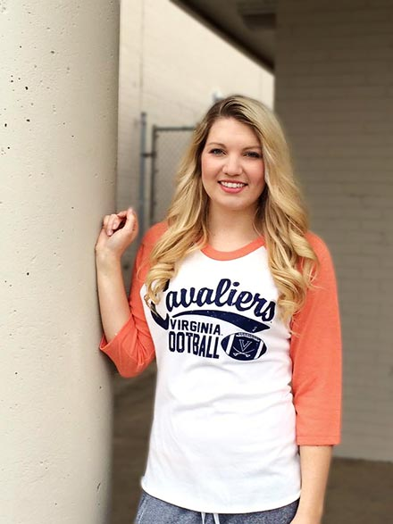 Girl modeling UVA clothing