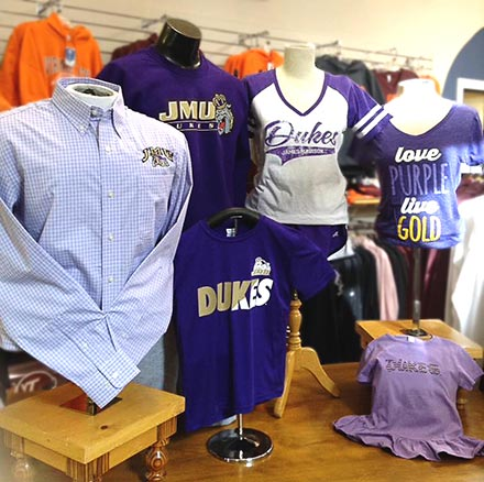 Retail display of James Madison Dukes clothing