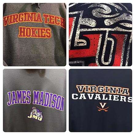 Shirts for UVA, VT, JMU, and LU