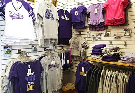 James Madison Dukes football clothing display