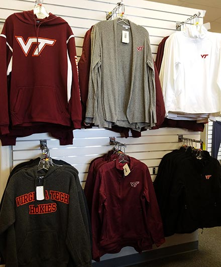 VT Hokies sweathirts on display