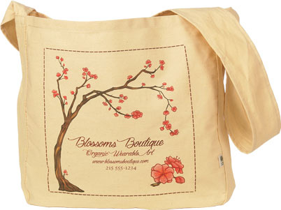 Graphic custom bag with tree and blossoms