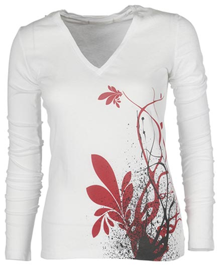Womens graphic v neck with flower at bottom