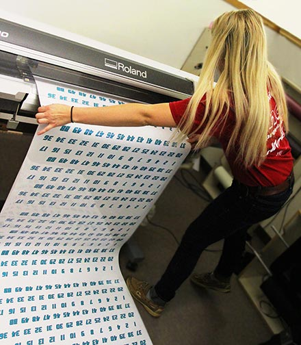 Custom banner being printed