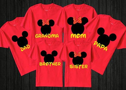 Family shirts personalized for disney world